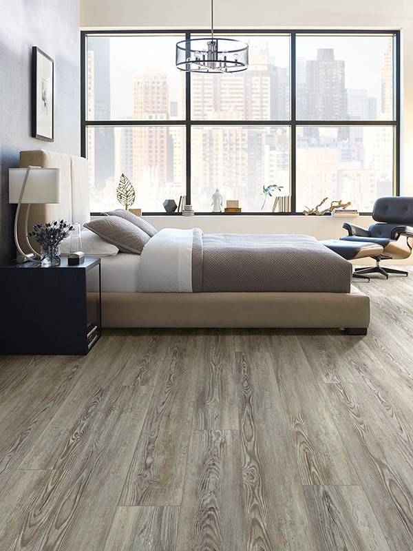 Bright Bedroom with Woodgrain LVT