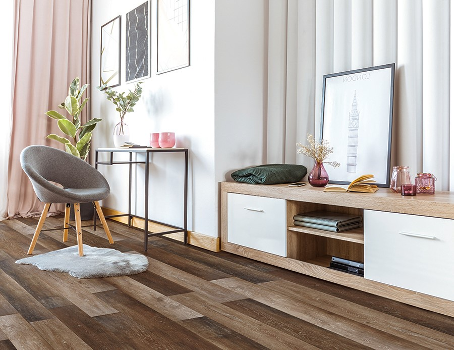 Trendy Living Room with Hardwood LVT